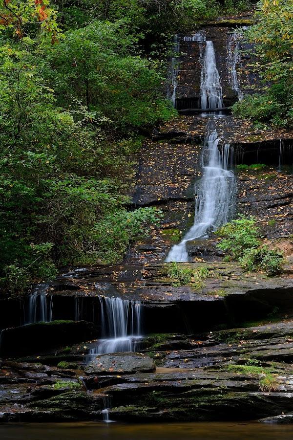 Tom Branch Falls by Norm Dunlap - Landscapes Waterscapes ( tom branch falls - tom's branch falls - waterfall  north carolina - deep creek - smoky mountain national park )