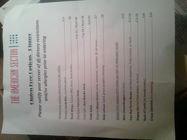 GF menu at The American Sector