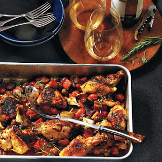 Balsamic Roast Chicken With Caramelized Pearl Onions, Olives And Tomatoes