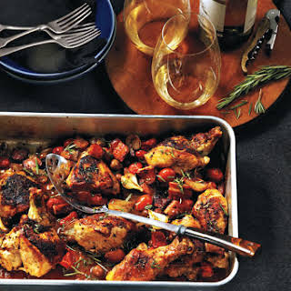 Balsamic Roast Chicken With Caramelized Pearl Onions, Olives And Tomatoes.