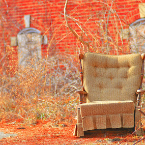 Abandoned Building and Chair by Martin Wheeler - Buildings & Architecture Other Exteriors ( haveaseat, chair, building, fall colors, abandoned )