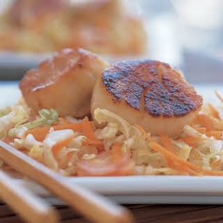 Miso-Glazed Scallops with Asian Slaw.