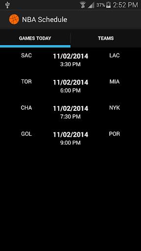 NBA Basketball 2014 Schedule