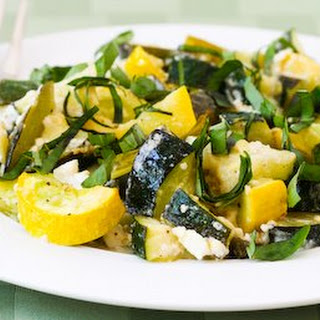 Roasted Zucchini with Green Onions, Feta Cheese, and Basil.