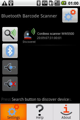 Bluetooth Barcode Scanner Demo - screenshot