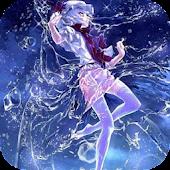 Girl in water splashes LWP