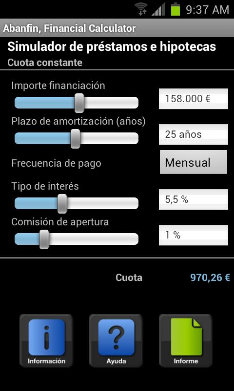 Abanfin financial calculator - screenshot
