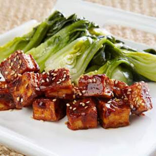 Crispy Glazed Tofu With Bok Choy.