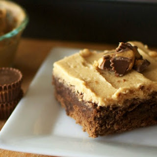 Peanut Butter Cup Brownies with Peanut Butter Frosting.