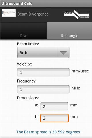 Ultrasound Calc Lite - screenshot
