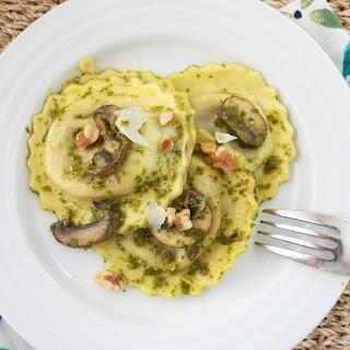 Wild Mushroom Tortellini with Pesto and Toasted Walnuts Recipe