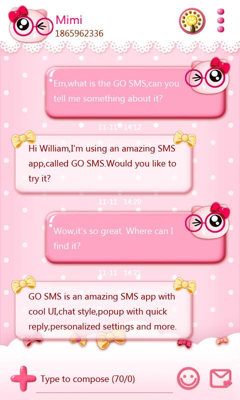 GO SMS PRO PINKYCAT THEME- screenshot