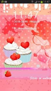 GO Locker Theme cupcake heart- screenshot thumbnail
