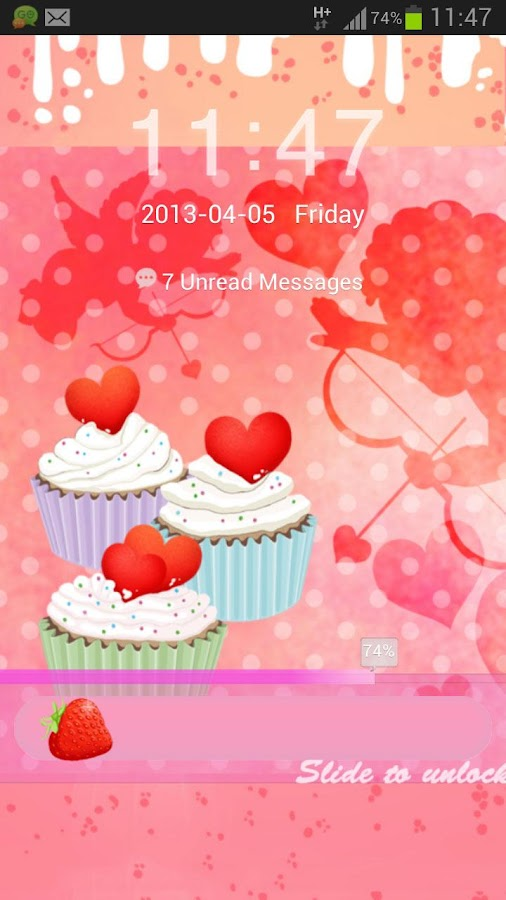 GO Locker Theme cupcake heart - screenshot
