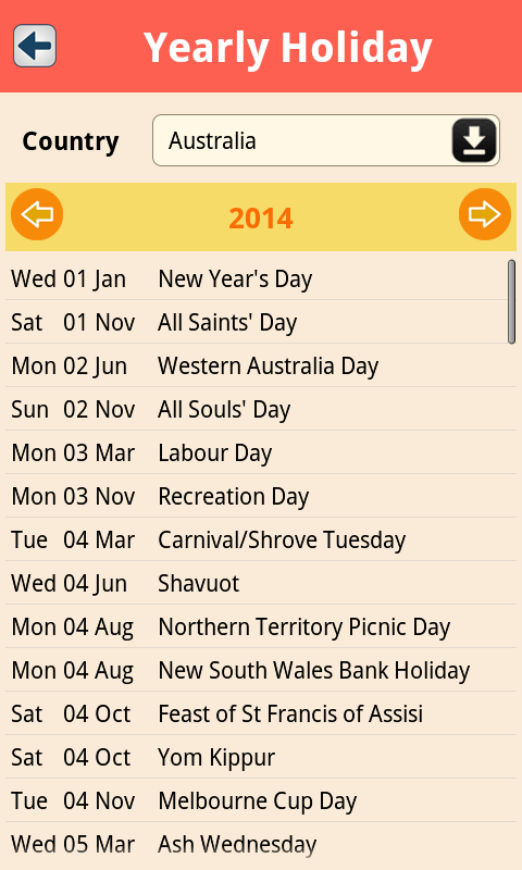 World Public Holidays Free Screenshot