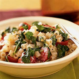Pasta with Watercress, Tomatoes, and Goat Cheese.