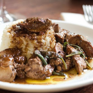 Pan-Seared Chicken Livers With Risotto Sartù.