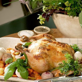 Whole Roasted Chicken with Goat Cheese and Sage.