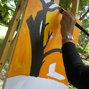 Painting outdoors by Shelina Khimji - People Professional People ( outdoor garden, men at work, art, outdoor painting, artist, painting,  )