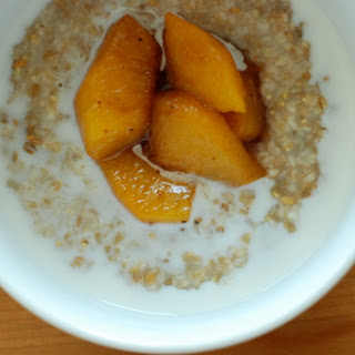 Maple Walnut Steelcut Oatmeal with Peach Compote.