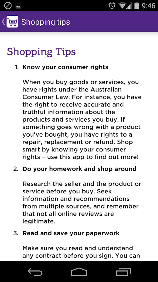 ACCC Shopper- screenshot