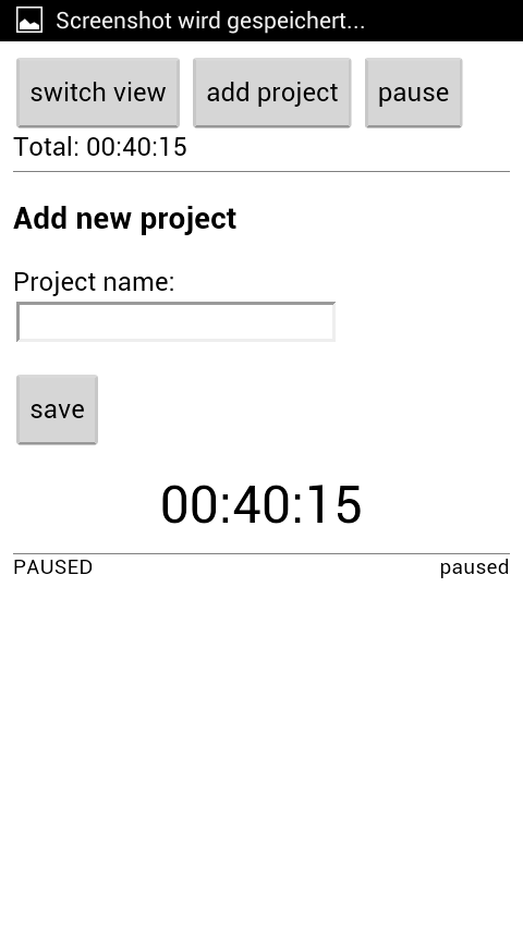 Project Time Tracker- screenshot