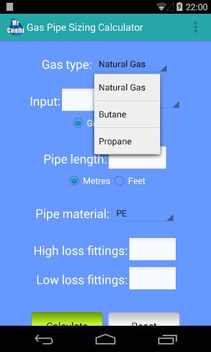 Gas Pipe Sizing Calculator