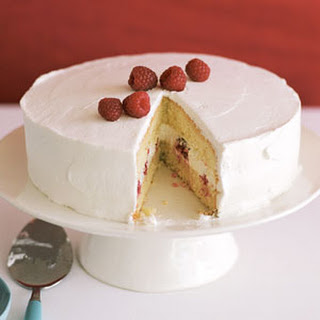 Tres Leches Cake with Raspberries.