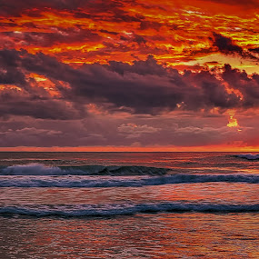 Fresh Start by Alex Bogdan - Landscapes Sunsets & Sunrises ( clouds, water, sky, dawn, waves, horizon, pop, beach, sunrise, morning, coastal, sun, colours )