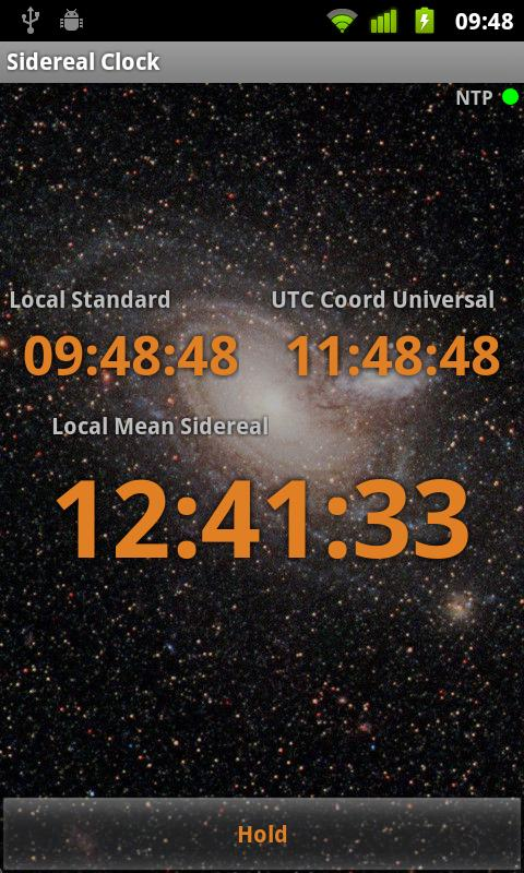 Sidereal Clock- screenshot