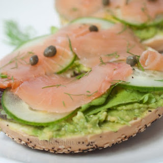 Avocado And Salmon Bagels.