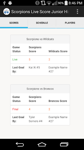 Scorpions Live Scores Jr High
