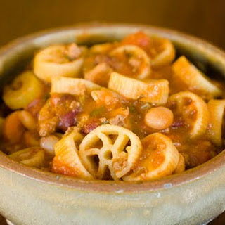 Pasta e Fagioli with Wagon Wheel Pasta