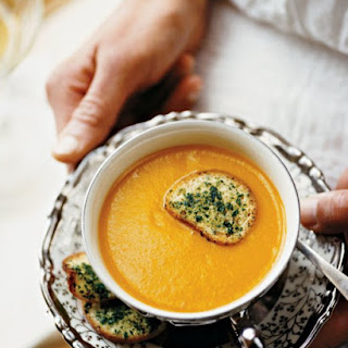 Creamy Winter Squash Soup with Herbed Crostini.