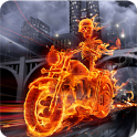 Skeleton Biker in Fire FREE icon