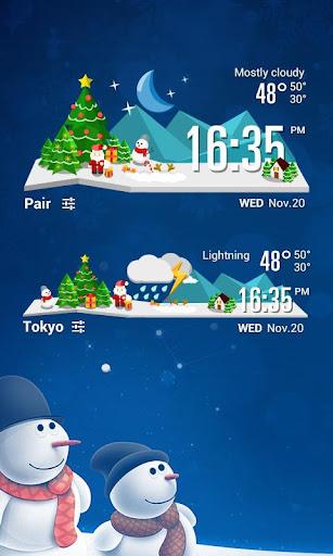 聖誕主題 時鐘天氣小工具﹣琥珀天氣,最贊的天氣小工具!