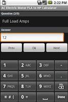 Screenshot of Electric Motor Calculators
