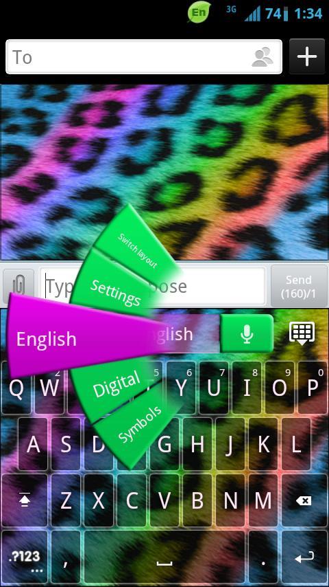 GO Keyboard Rainbow Cheetah- screenshot
