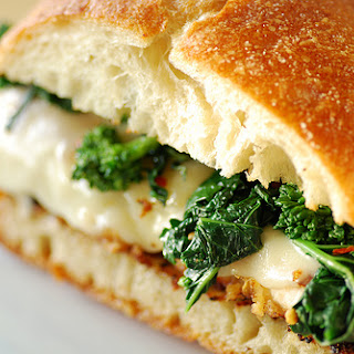 Italian Chicken Cutlet Sandwich with Broccoli Rabe and Provolone.
