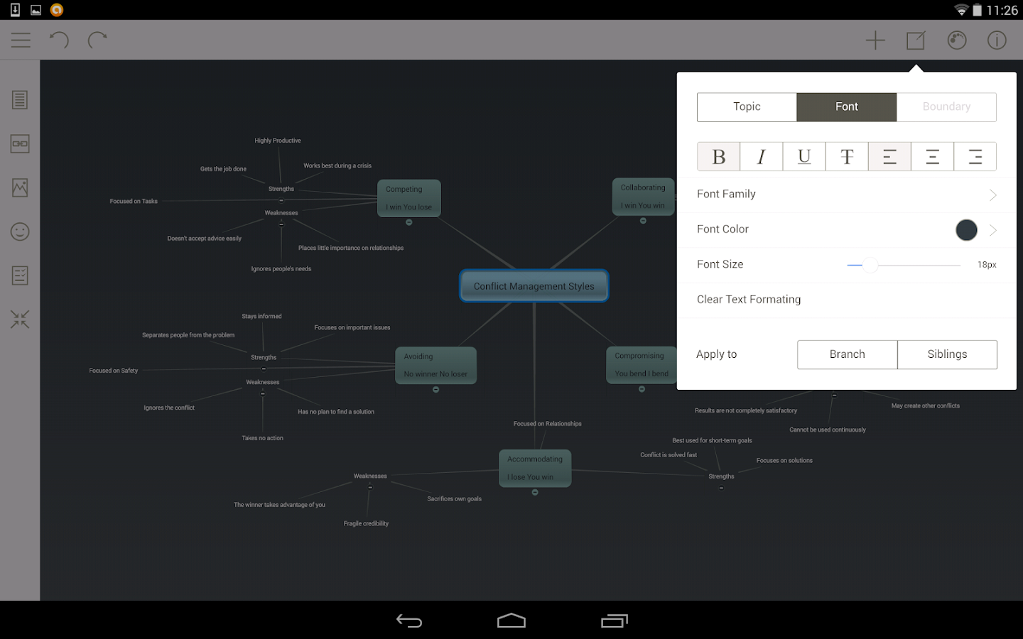 Mindomo (mind mapping)-skjermdump