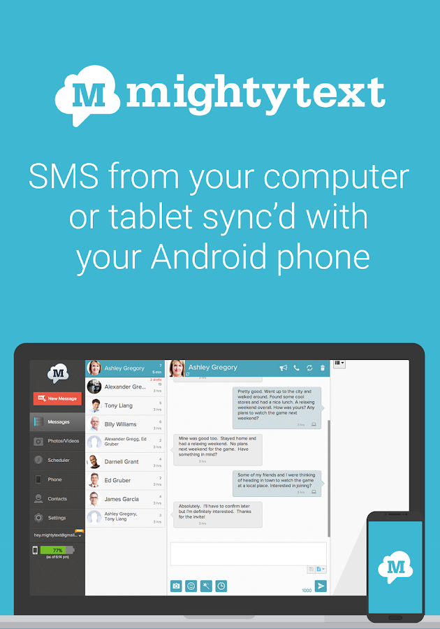 MightyText: SMS Text Messaging- screenshot