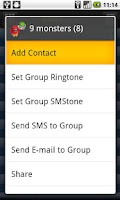 Screenshot of GangBook-group contact manager