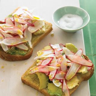 Radish and Avocado Sandwich.