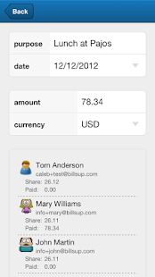 Billsup - split group expenses- screenshot thumbnail
