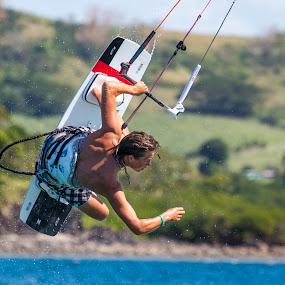 Catching Air by Jason Rose - Sports & Fitness Watersports ( kiting, kitboarding, air, fiji, jump )