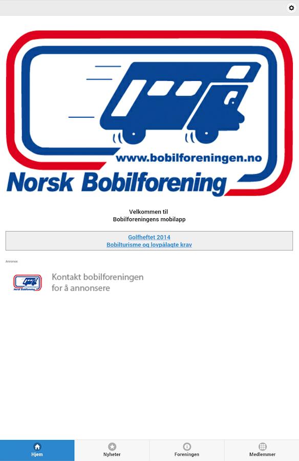 Norsk Bobilforening- screenshot