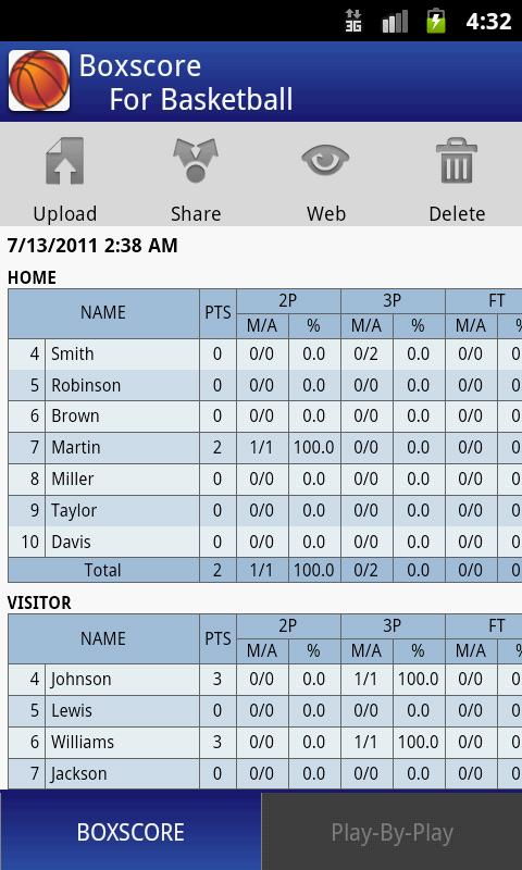Boxscore For Basketball - screenshot