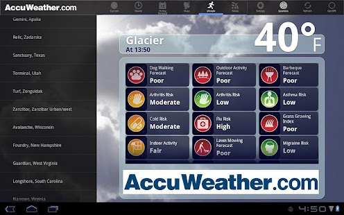 AccuWeather for Sony Tablet S - screenshot thumbnail