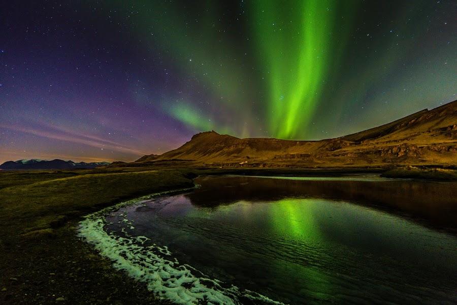 Wonder Lights II by Palmi Vilhjalmsson - Landscapes Starscapes ( west iceland, iceland, akranes, aurora borealis, aurora )