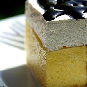 Cream cake with whipped cream and chocolate sauce.jpg